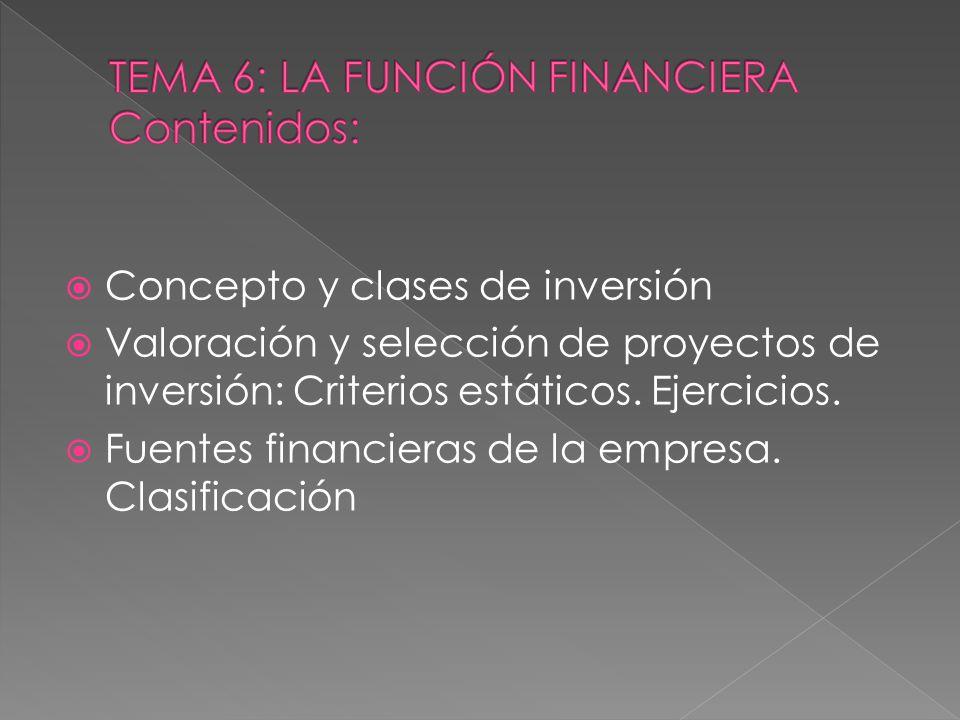 TEMA 6: LA FUNCIÓN FINANCIERA Contenidos: