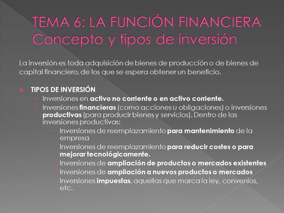 TEMA 6: LA FUNCIÓN FINANCIERA Concepto y tipos de inversión