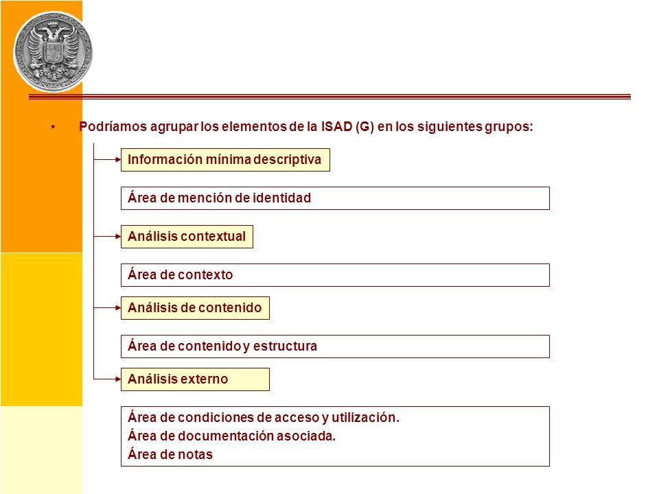 Podríamos agrupar los elementos de la ISAD (G) en los siguientes grupos:
