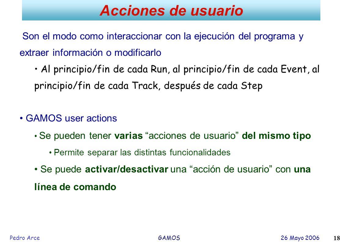 Acciones de usuario Son el modo como interaccionar con la ejecución del programa y extraer información o modificarlo.