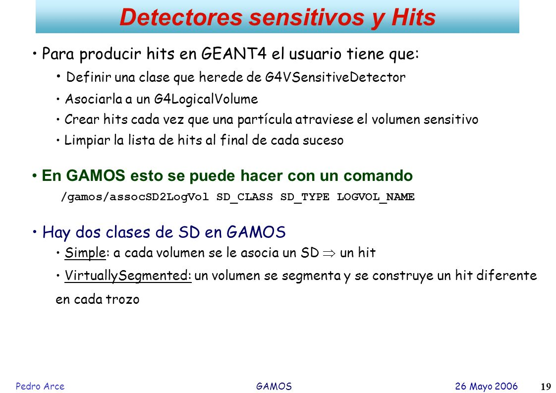 Detectores sensitivos y Hits