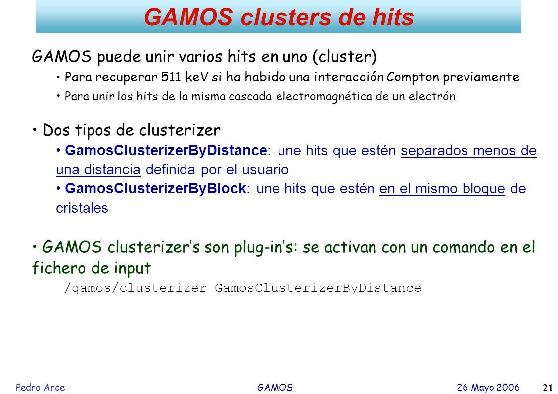 GAMOS clusters de hits GAMOS puede unir varios hits en uno (cluster)