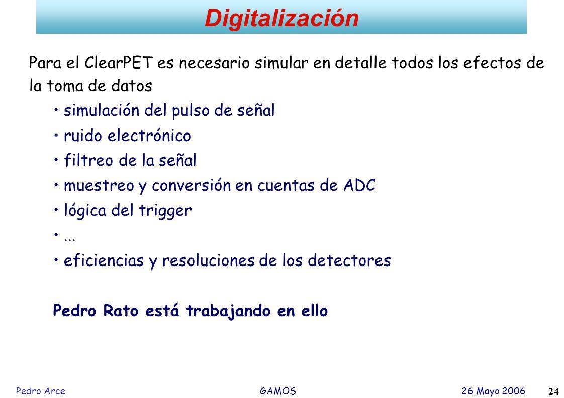 Digitalización Para el ClearPET es necesario simular en detalle todos los efectos de la toma de datos.