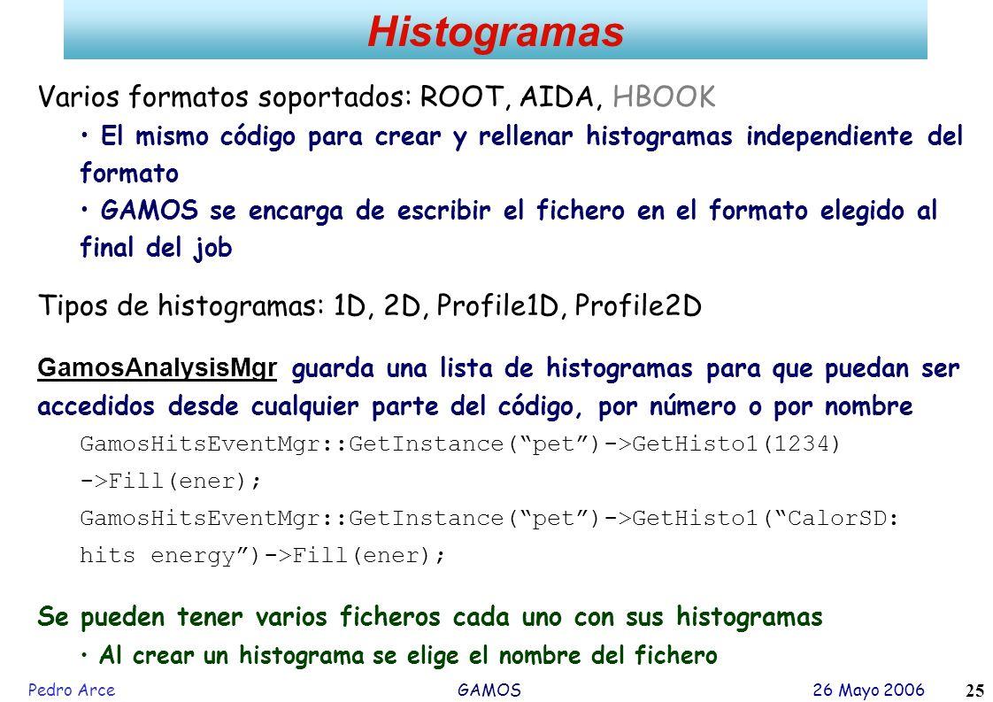 Histogramas Varios formatos soportados: ROOT, AIDA, HBOOK