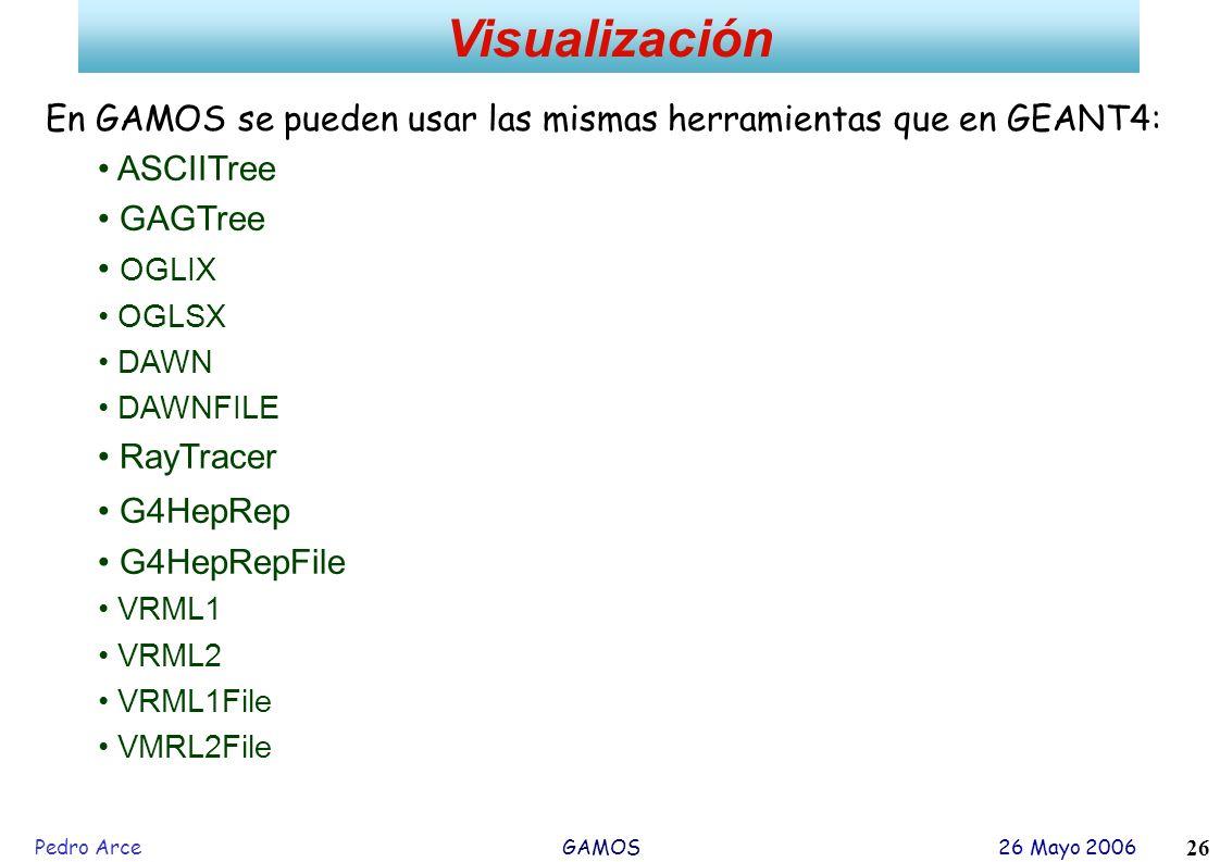 Visualización En GAMOS se pueden usar las mismas herramientas que en GEANT4: ASCIITree. GAGTree. OGLIX.