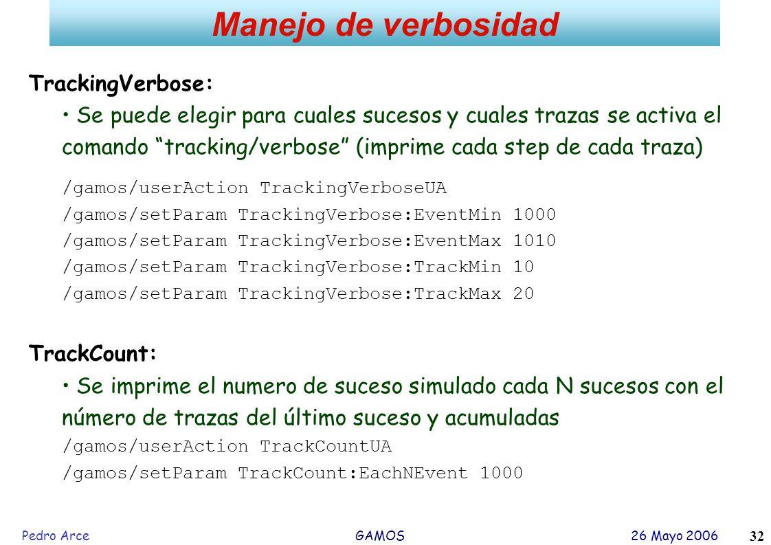 Manejo de verbosidad TrackingVerbose: