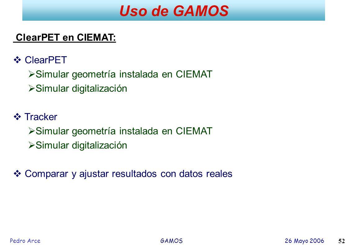 Uso de GAMOS ClearPET en CIEMAT: ClearPET