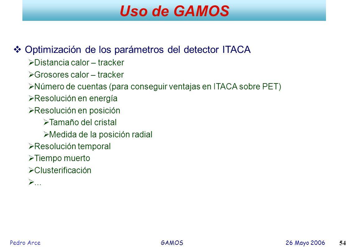 Uso de GAMOS Optimización de los parámetros del detector ITACA