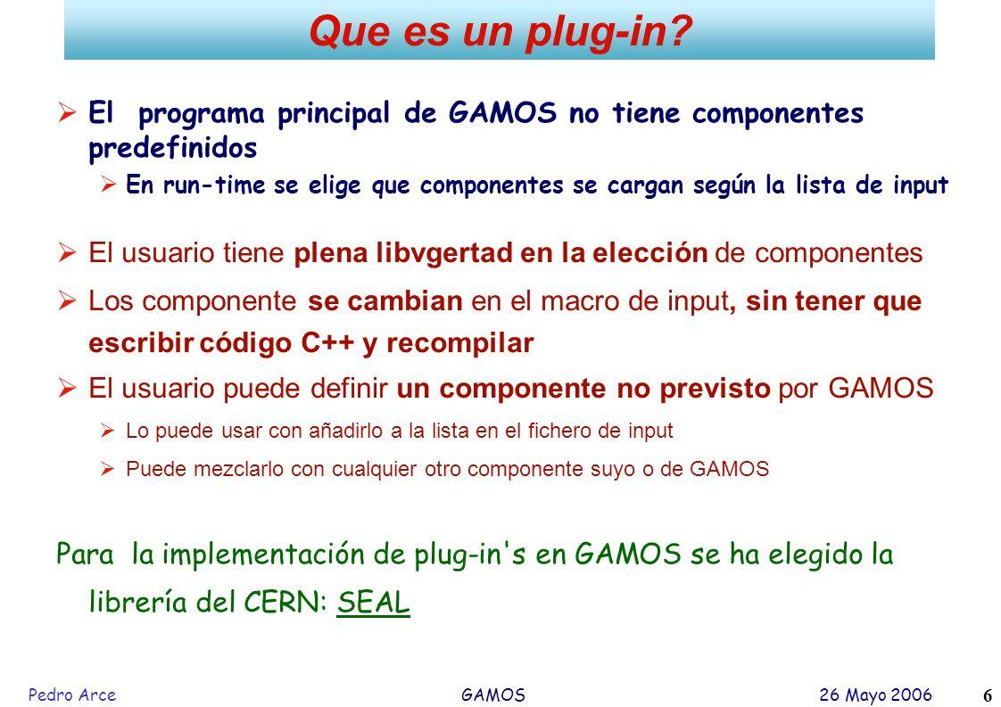 Que es un plug-in El programa principal de GAMOS no tiene componentes predefinidos.