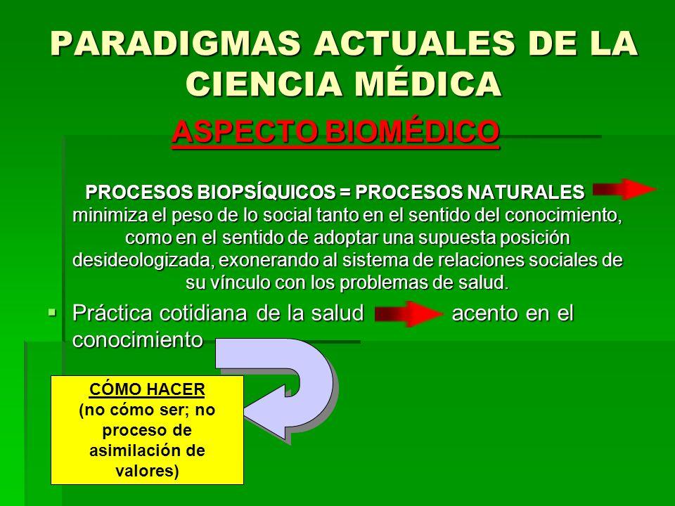PARADIGMAS ACTUALES DE LA CIENCIA MÉDICA