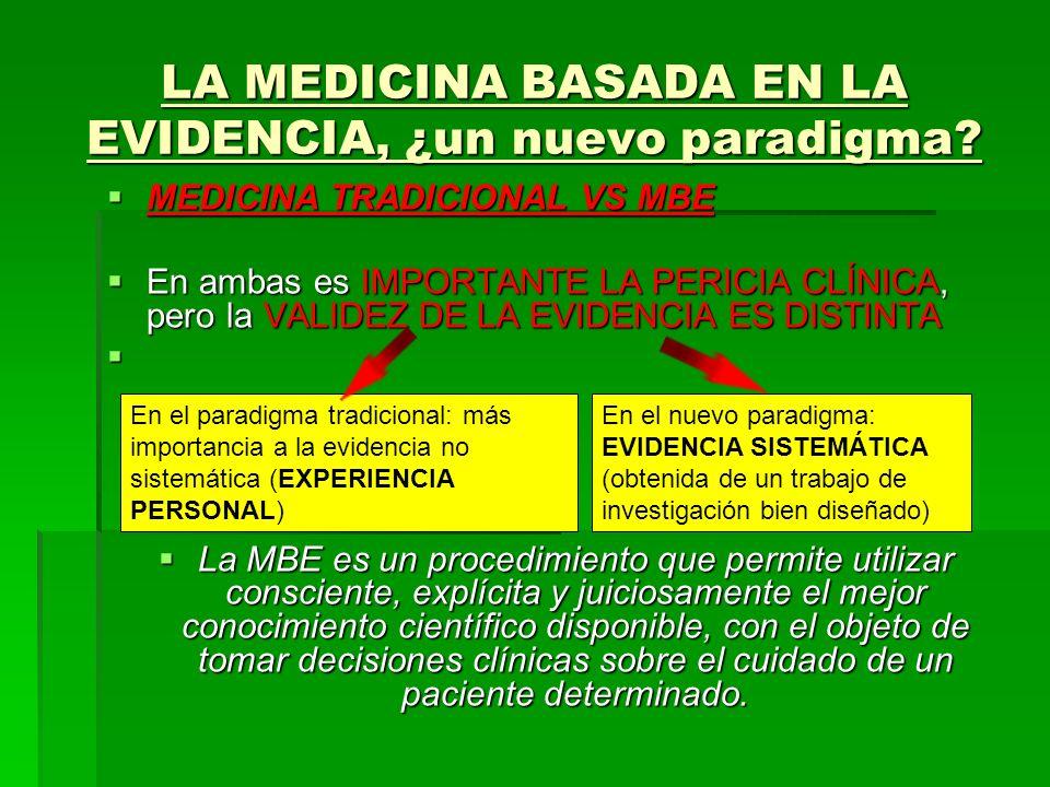 LA MEDICINA BASADA EN LA EVIDENCIA, ¿un nuevo paradigma