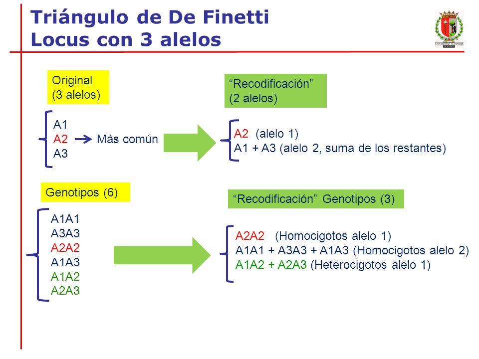 Triángulo de De Finetti Locus con 3 alelos