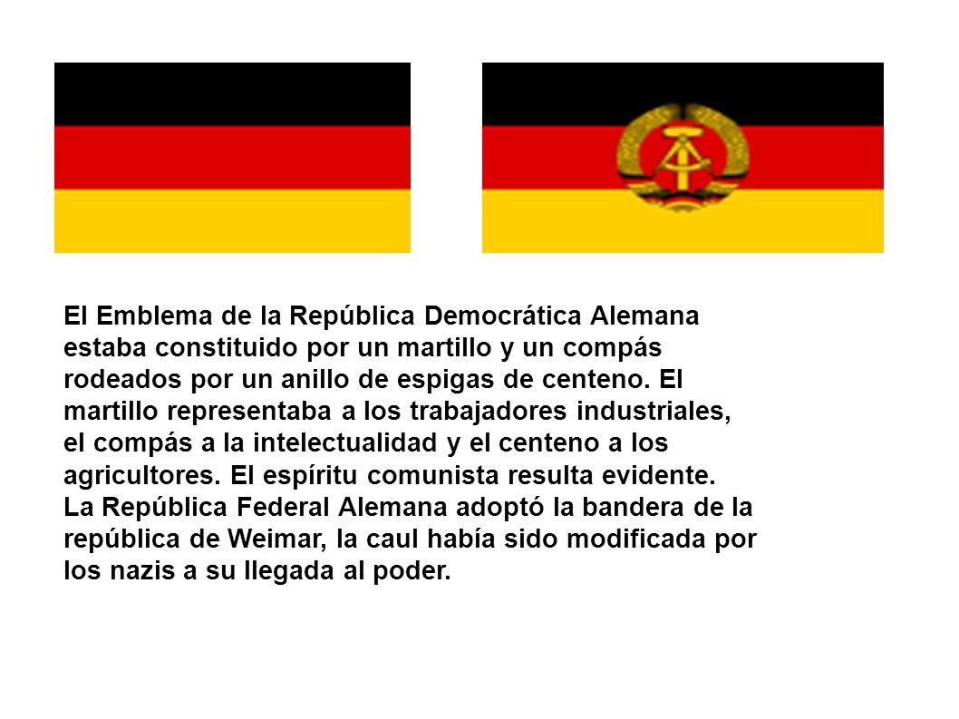 El Emblema de la República Democrática Alemana estaba constituido por un martillo y un compás rodeados por un anillo de espigas de centeno. El martillo representaba a los trabajadores industriales, el compás a la intelectualidad y el centeno a los agricultores. El espíritu comunista resulta evidente.