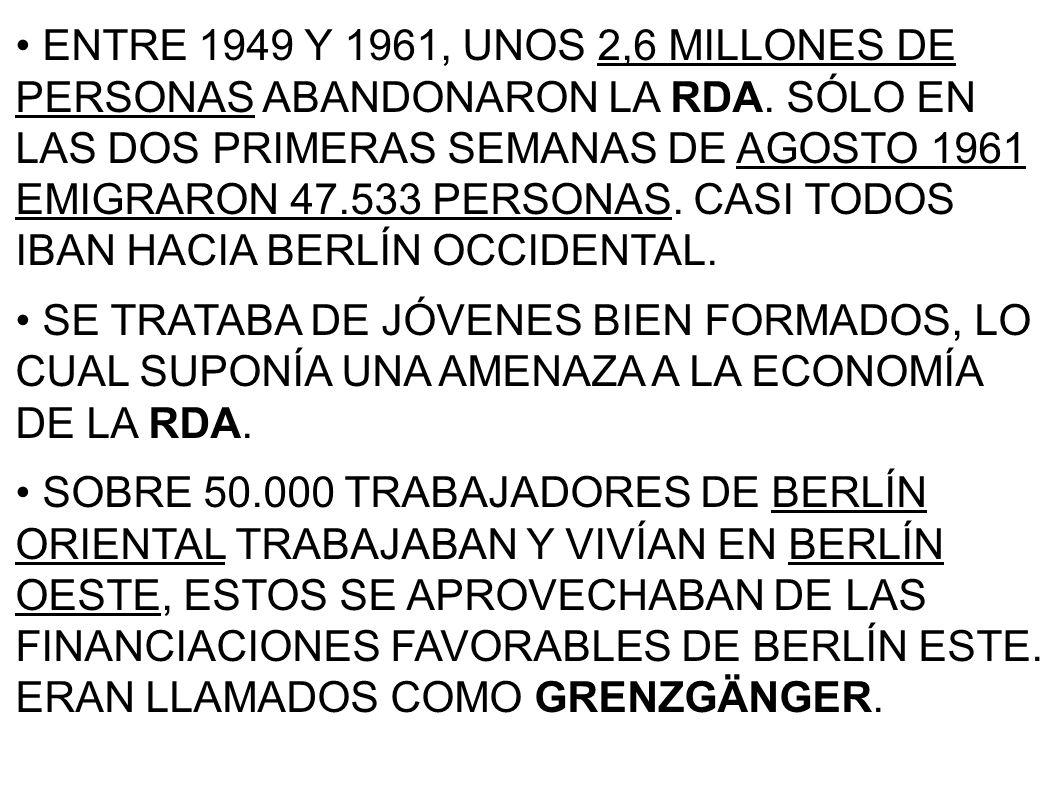 ENTRE 1949 Y 1961, UNOS 2,6 MILLONES DE PERSONAS ABANDONARON LA RDA