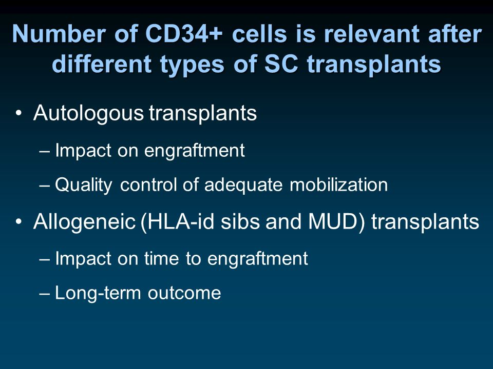 Number of CD34+ cells is relevant after different types of SC transplants