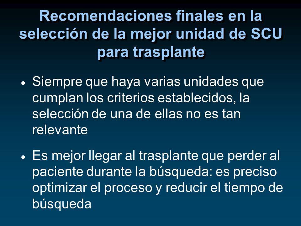 Recomendaciones finales en la selección de la mejor unidad de SCU para trasplante