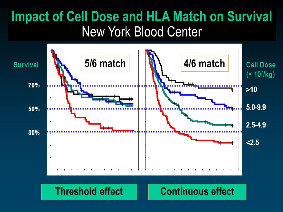 Impact of Cell Dose and HLA Match on Survival