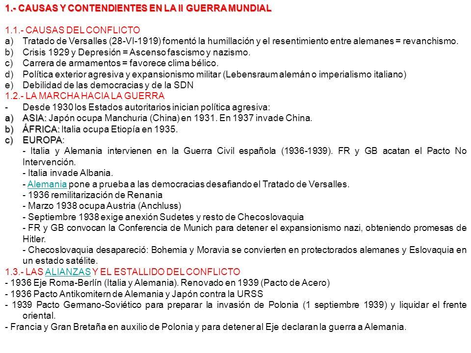 1.- CAUSAS Y CONTENDIENTES EN LA II GUERRA MUNDIAL