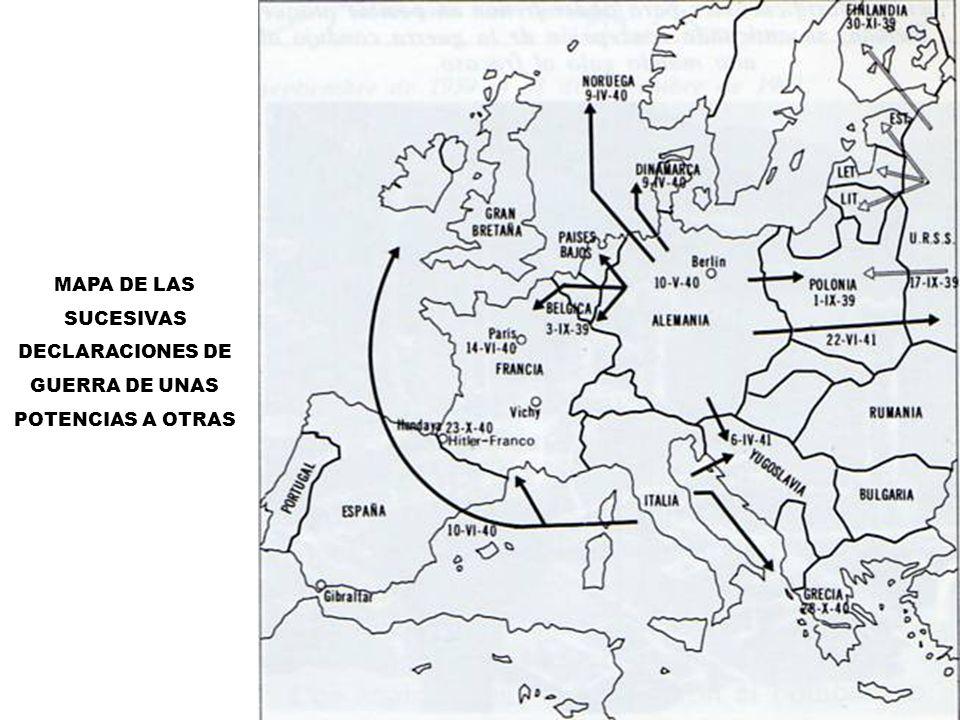 MAPA DE LAS SUCESIVAS DECLARACIONES DE GUERRA DE UNAS POTENCIAS A OTRAS