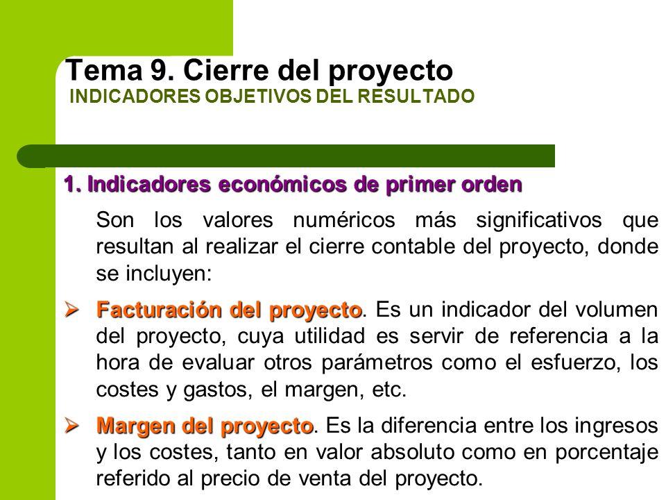 Tema 9. Cierre del proyecto INDICADORES OBJETIVOS DEL RESULTADO