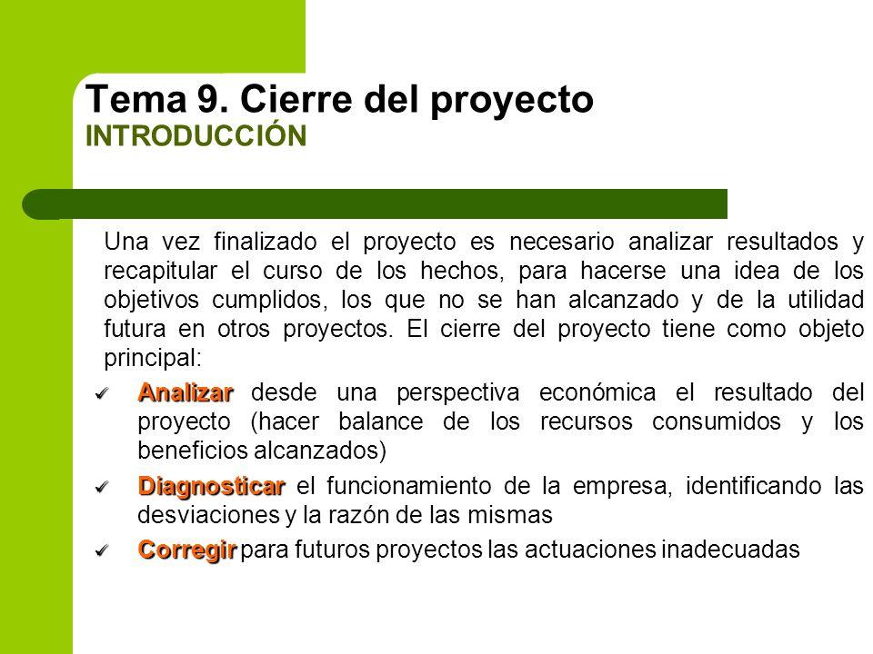 Tema 9. Cierre del proyecto