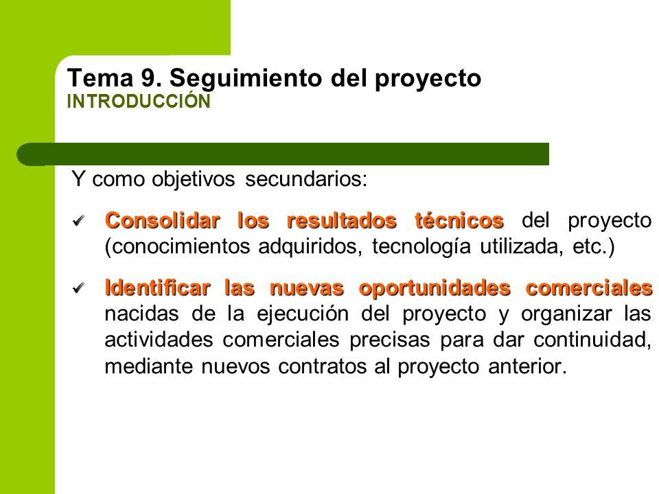 Tema 9. Seguimiento del proyecto INTRODUCCIÓN