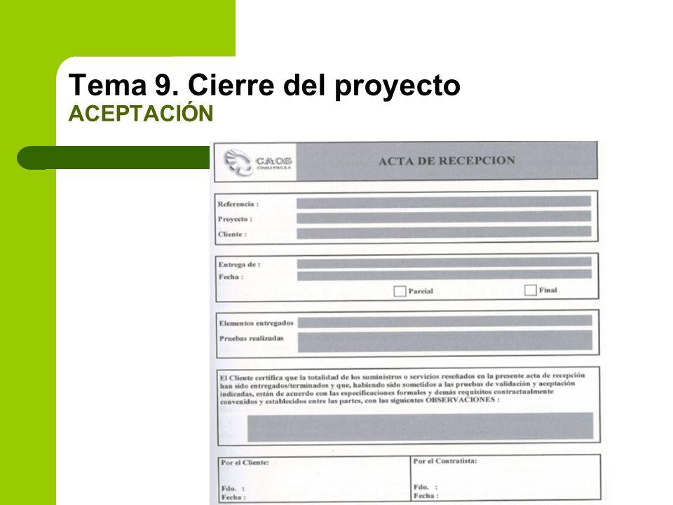 Tema 9. Cierre del proyecto ACEPTACIÓN