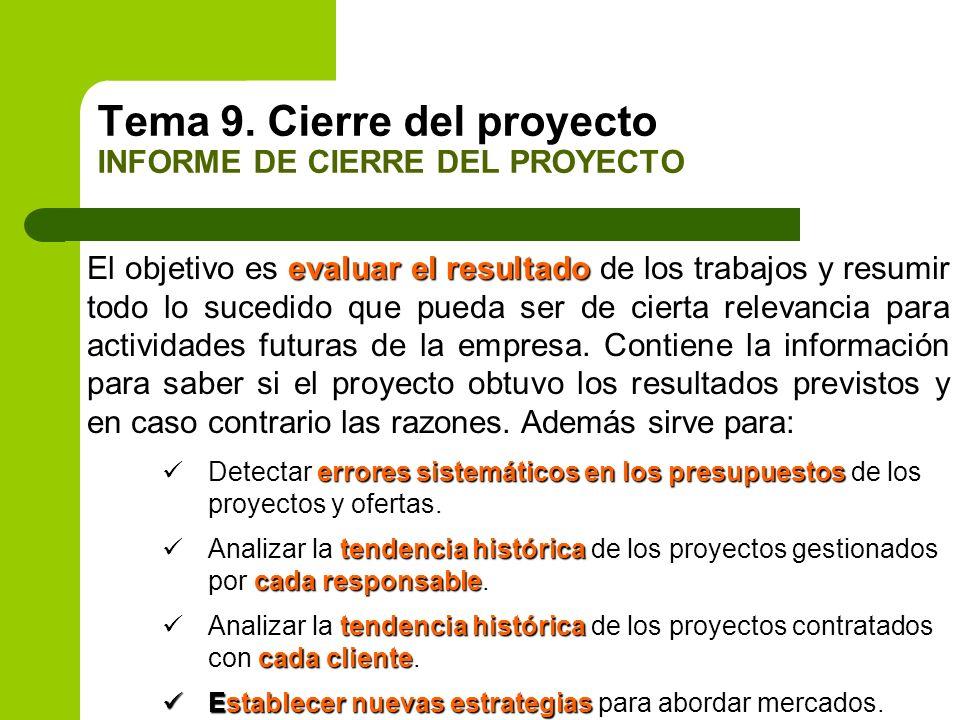 Tema 9. Cierre del proyecto INFORME DE CIERRE DEL PROYECTO