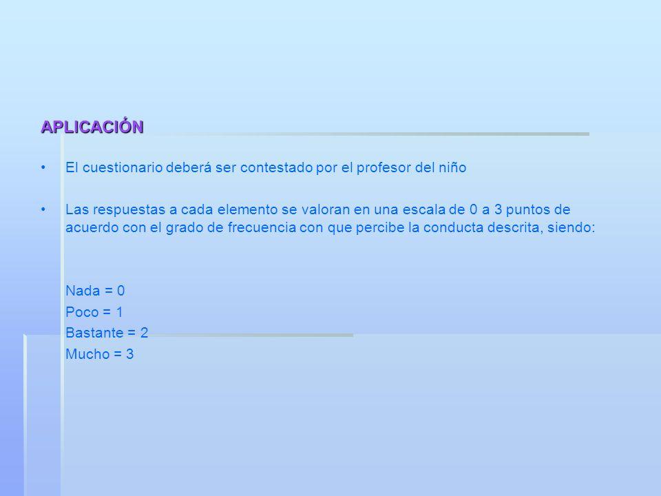 APLICACIÓN El cuestionario deberá ser contestado por el profesor del niño.