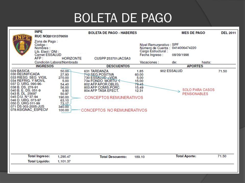 BOLETA DE PAGO CONCEPTOS REMUNERATIVOS CONCEPTOS NO REMUNERATIVOS