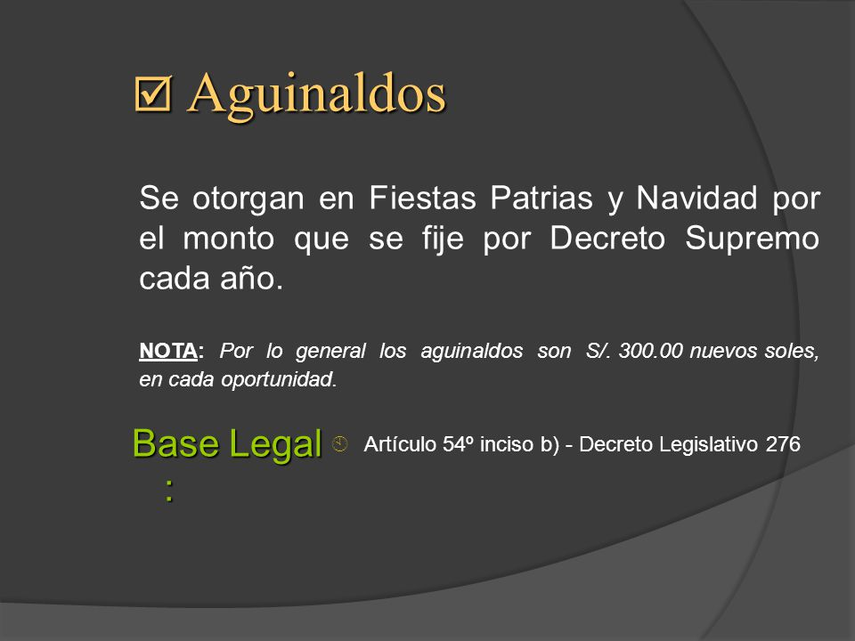 Aguinaldos Base Legal :