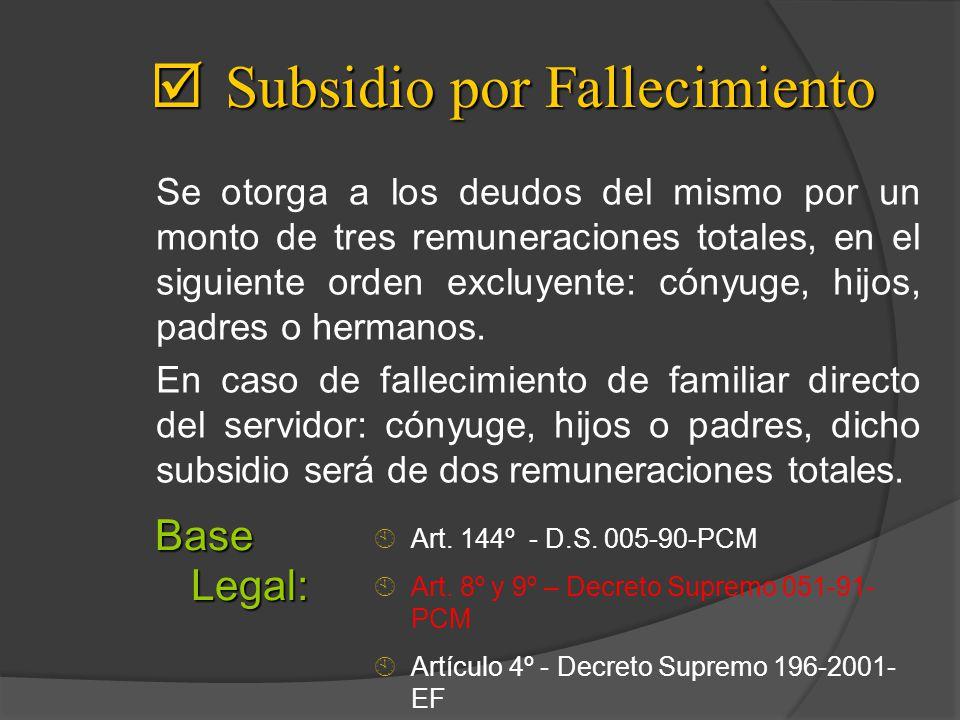 Subsidio por Fallecimiento