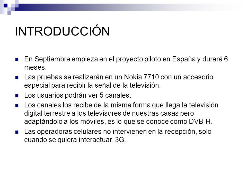 INTRODUCCIÓN En Septiembre empieza en el proyecto piloto en España y durará 6 meses.