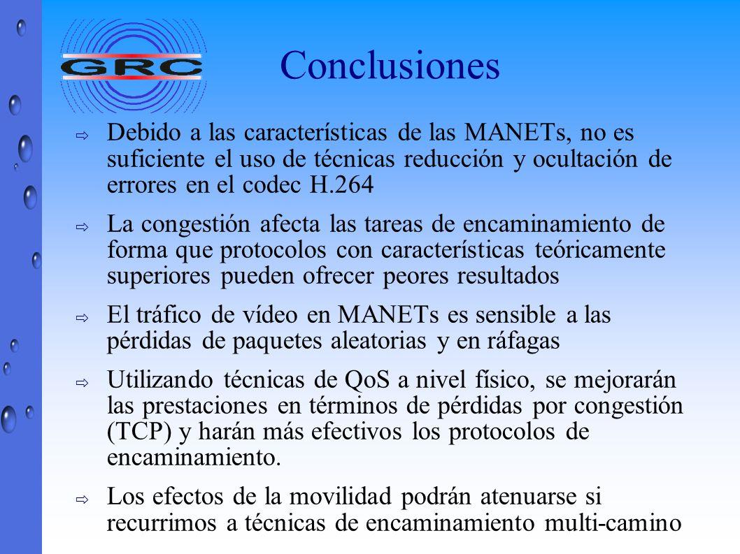 Conclusiones Debido a las características de las MANETs, no es suficiente el uso de técnicas reducción y ocultación de errores en el codec H.264.