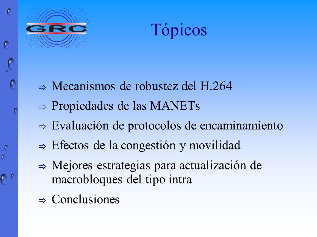 Tópicos Mecanismos de robustez del H.264 Propiedades de las MANETs