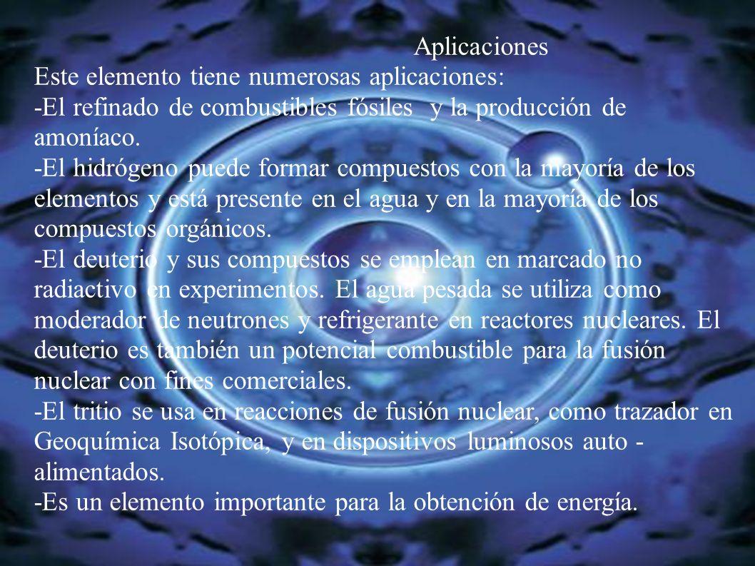 Aplicaciones Este elemento tiene numerosas aplicaciones: -El refinado de combustibles fósiles y la producción de amoníaco.