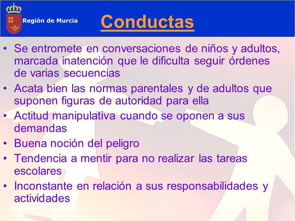 Conductas Se entromete en conversaciones de niños y adultos, marcada inatención que le dificulta seguir órdenes de varias secuencias.