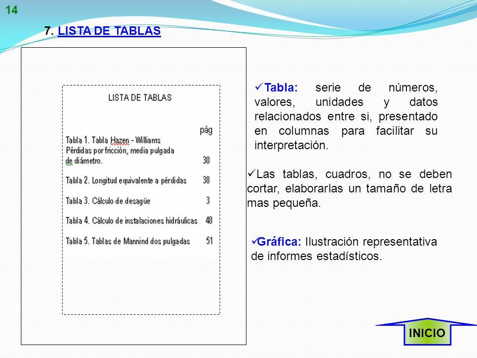 14 7. LISTA DE TABLAS.