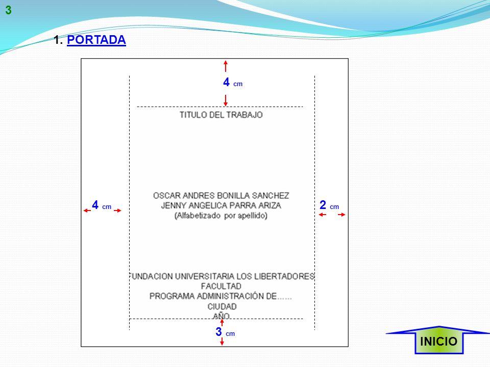 3 1. PORTADA 4 cm 4 cm 2 cm 3 cm INICIO