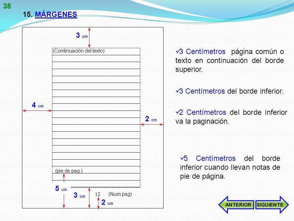 3 Centímetros página común o texto en continuación del borde superior.