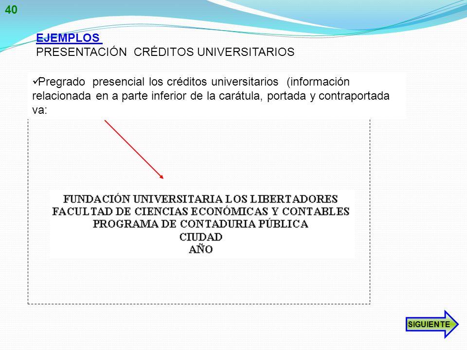 PRESENTACIÓN CRÉDITOS UNIVERSITARIOS