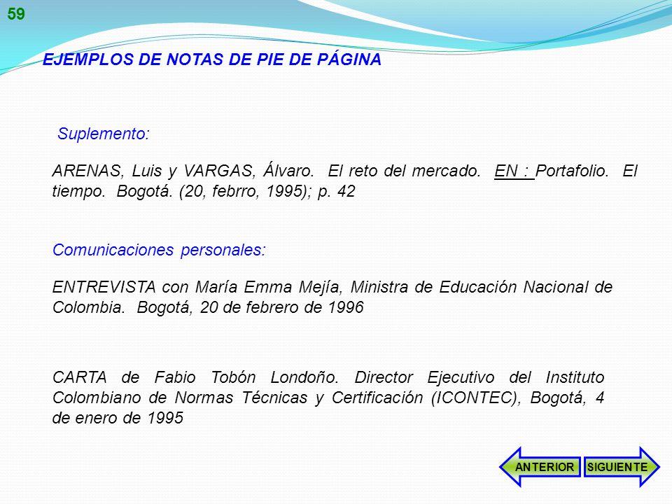 EJEMPLOS DE NOTAS DE PIE DE PÁGINA