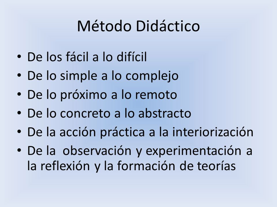 Método Didáctico De los fácil a lo difícil De lo simple a lo complejo