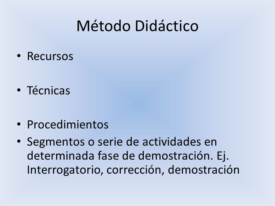 Método Didáctico Recursos Técnicas Procedimientos
