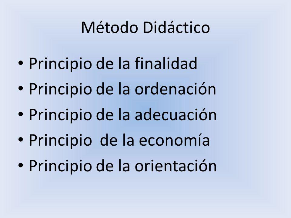 Método Didáctico Principio de la finalidad. Principio de la ordenación. Principio de la adecuación.