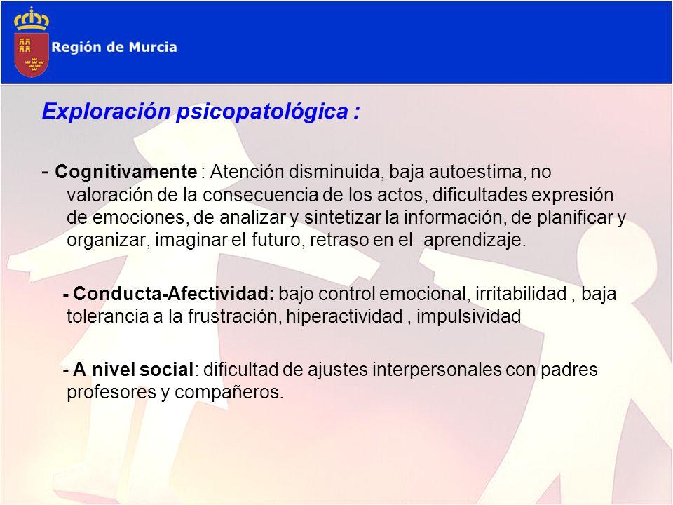 Exploración psicopatológica :