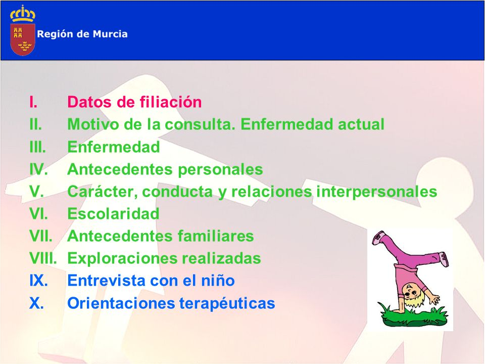 Datos de filiación Motivo de la consulta. Enfermedad actual. Enfermedad. Antecedentes personales.