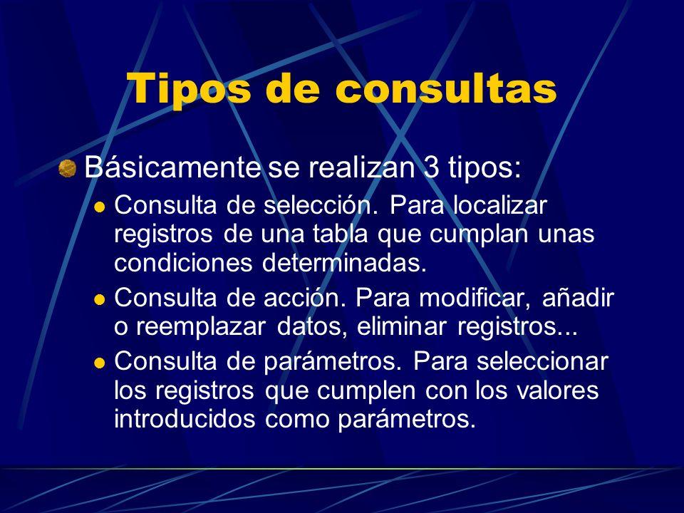 Tipos de consultas Básicamente se realizan 3 tipos: