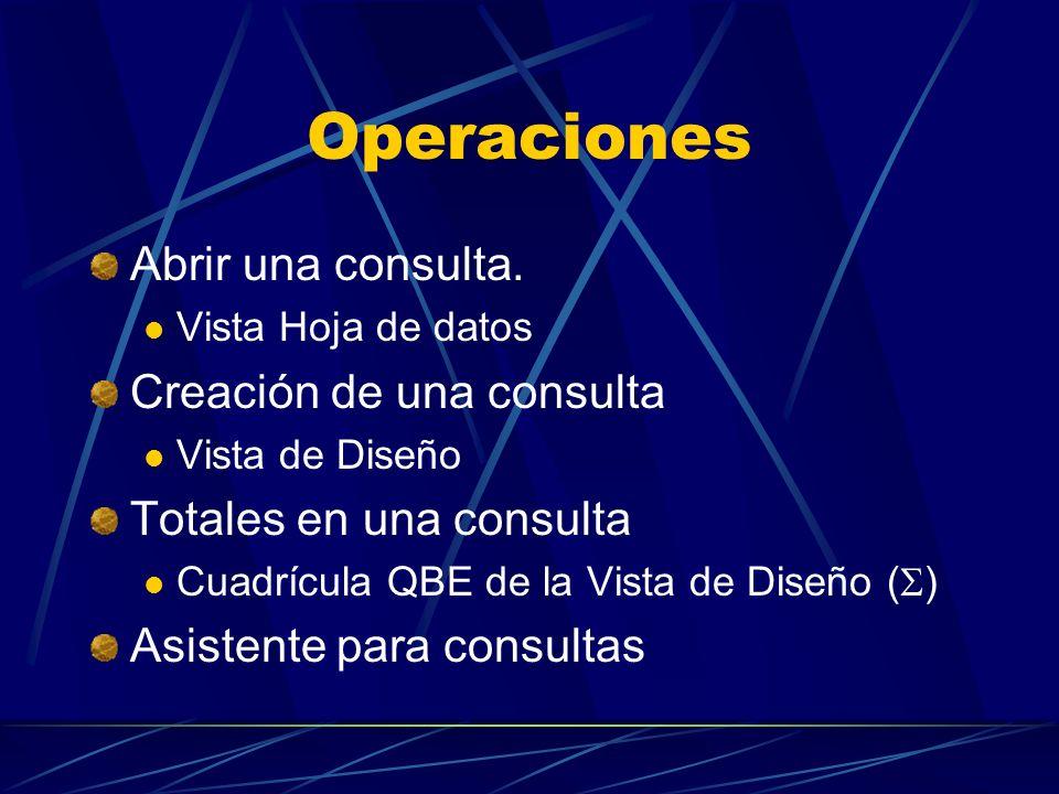 Operaciones Abrir una consulta. Creación de una consulta