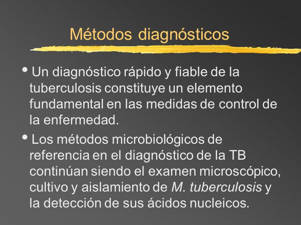 Métodos diagnósticosUn diagnóstico rápido y fiable de la tuberculosis constituye un elemento fundamental en las medidas de control de la enfermedad.
